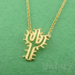 Spiky Arroyo Cactus Shaped Desert Themed Gold Charm Necklace | DOTOLY