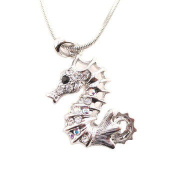 Spiny Seahorse Rhinestone Pendant Necklace in Silver | Animal Jewelry