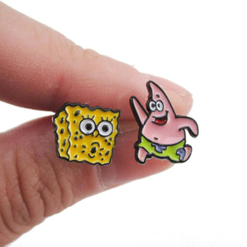 SpongeBob SquarePants and Patrick Star Shaped Stud Earrings | DOTOLY