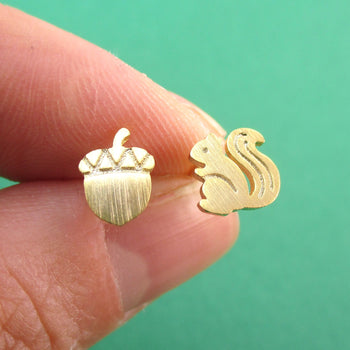 Squirrel Chipmunk and Acorn Shaped Allergy Free Stud Earrings in Gold