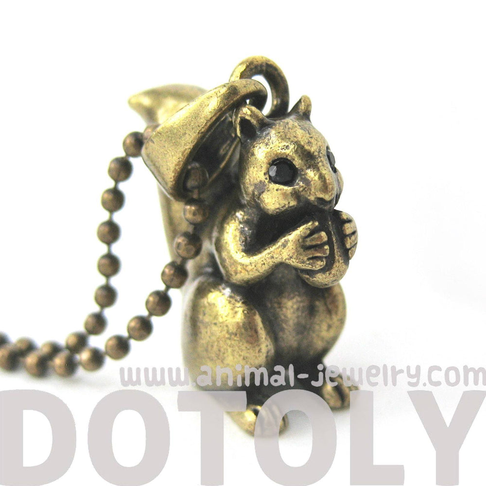 Squirrel Chipmunk Animal Pendant Necklace in Brass | DOTOLY | DOTOLY