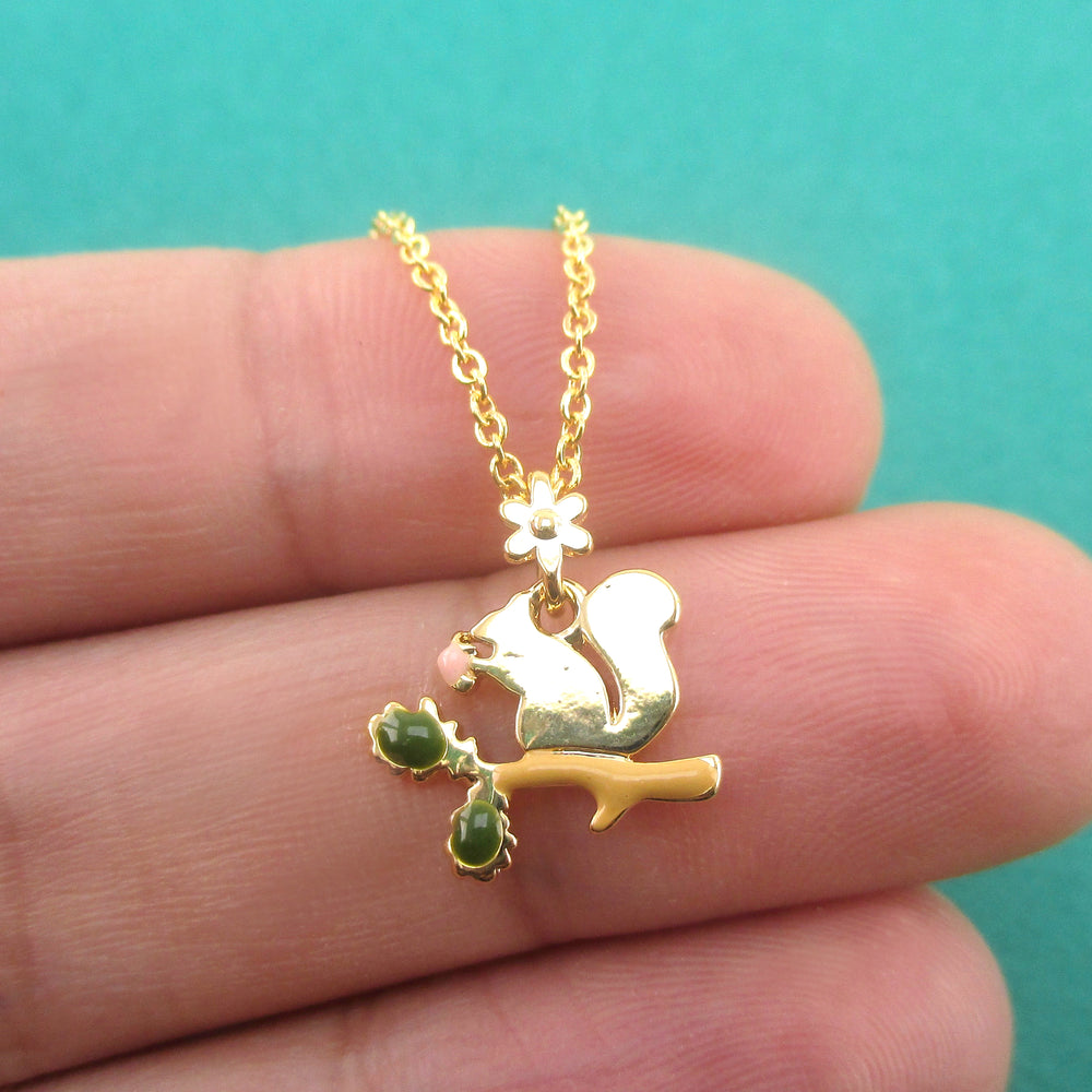 Squirrel Chipmunk on a Branch Silhouette Shaped Pendant Necklace