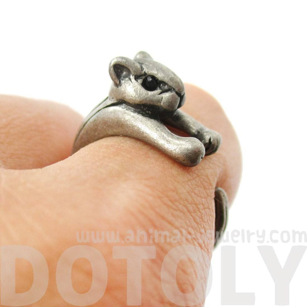Squirrel Chipmunk Shaped Animal Wrap Around Ring in Silver | US Sizes 3 to 8.5 | DOTOLY