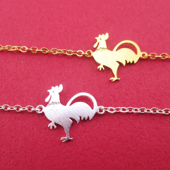 Hot Stuff Chicken Rooster Shaped Charm Bracelet in Gold or Silver