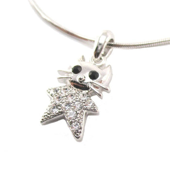 Star Shaped Kitty Cat Pendant Necklace in Silver with Rhinestones