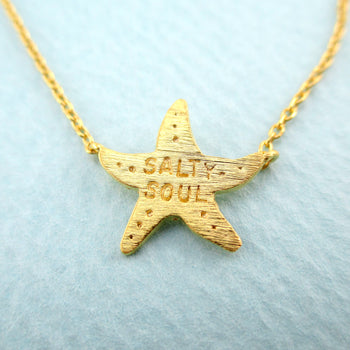 Starfish Shaped Salty Soul Sea Lovers Ocean Pendant Necklace in Gold
