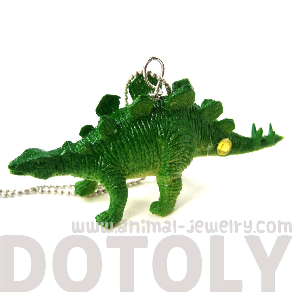 Stegosaurus Armored Dinosaur Shaped Pendant Necklace in Green | Animal Jewelry | DOTOLY