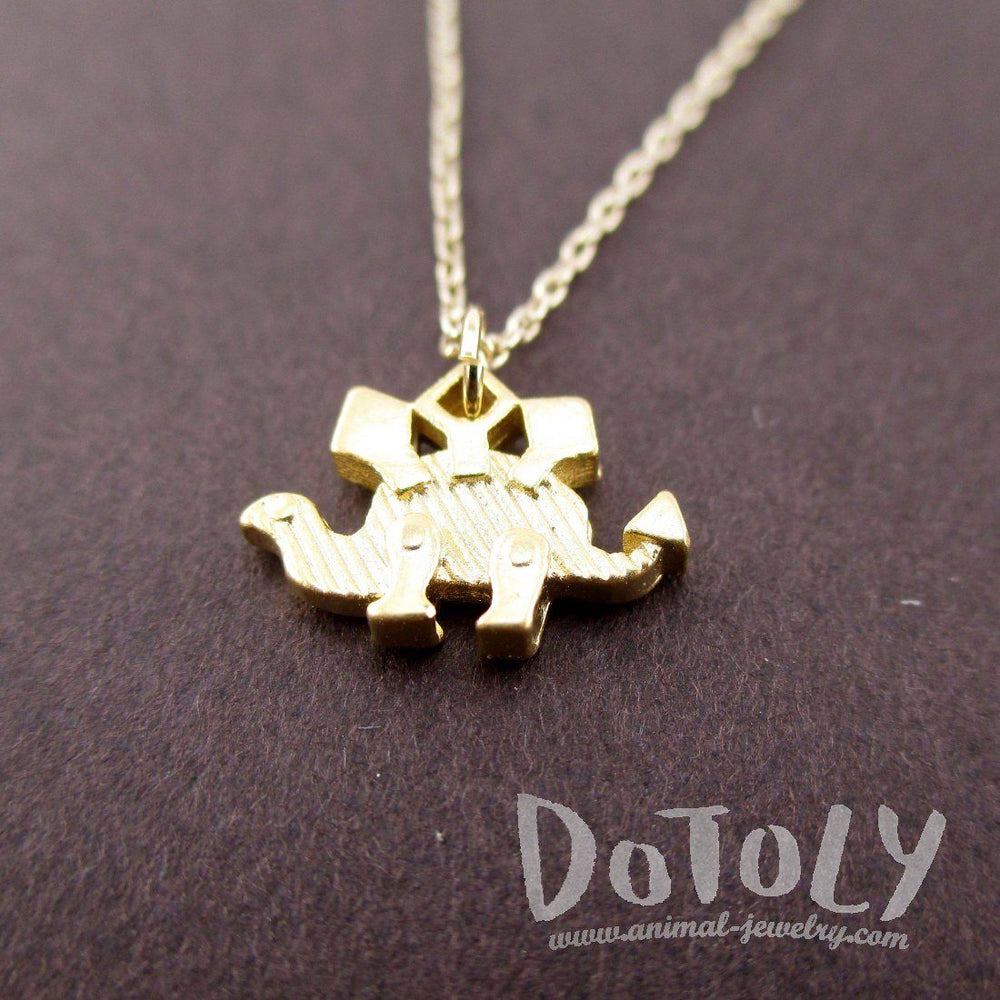 Stegosaurus Dinosaur Silhouette Shaped Pendant Necklace in Gold