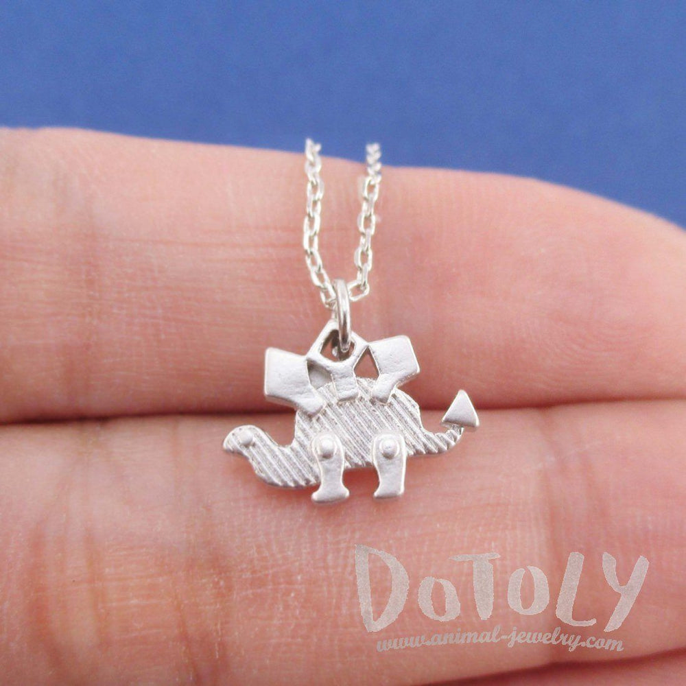 Stegosaurus Dinosaur Silhouette Shaped Pendant Necklace in Silver
