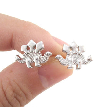 Stegosaurus Dinosaur Silhouette Shaped Stud Earrings in Silver | DOTOLY | DOTOLY