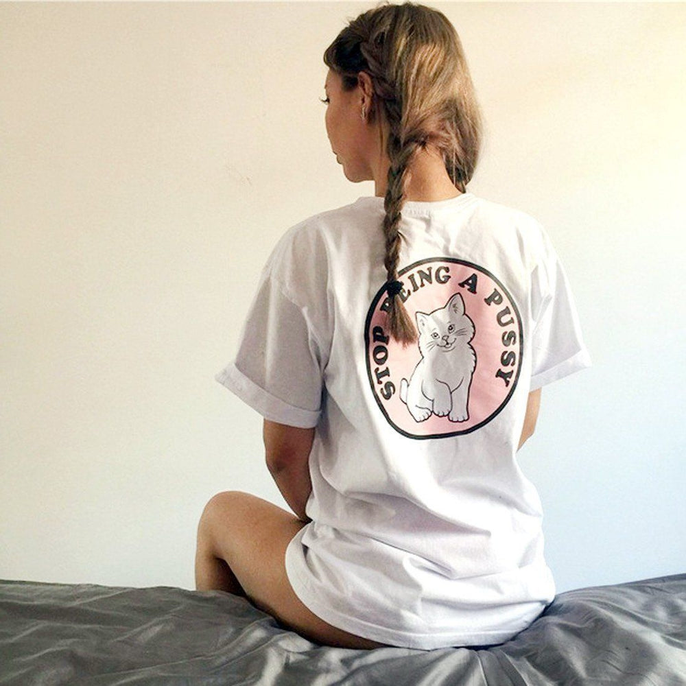Stop Being A Pussy (Cat) Long Graphic Tee T-Shirts in White | DOTOLY