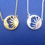 Sun and Crescent Moon Celestial Pendant Necklace in Silver or Gold