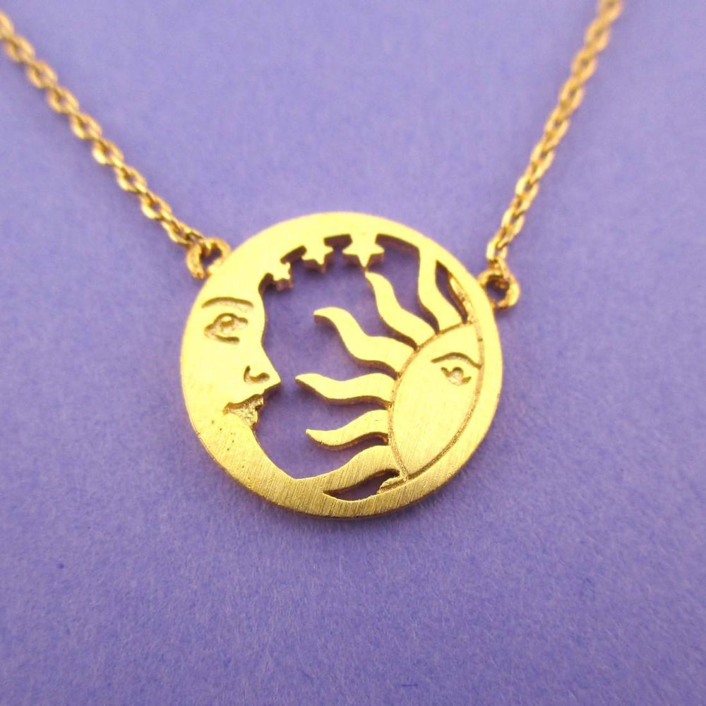 Sun and Crescent Moon Celestial Pendant Necklace in Gold | DOTOLY | DOTOLY