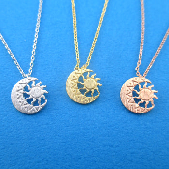 Sun In Crescent Moon Lunar Phase Celestial Pendant Necklace