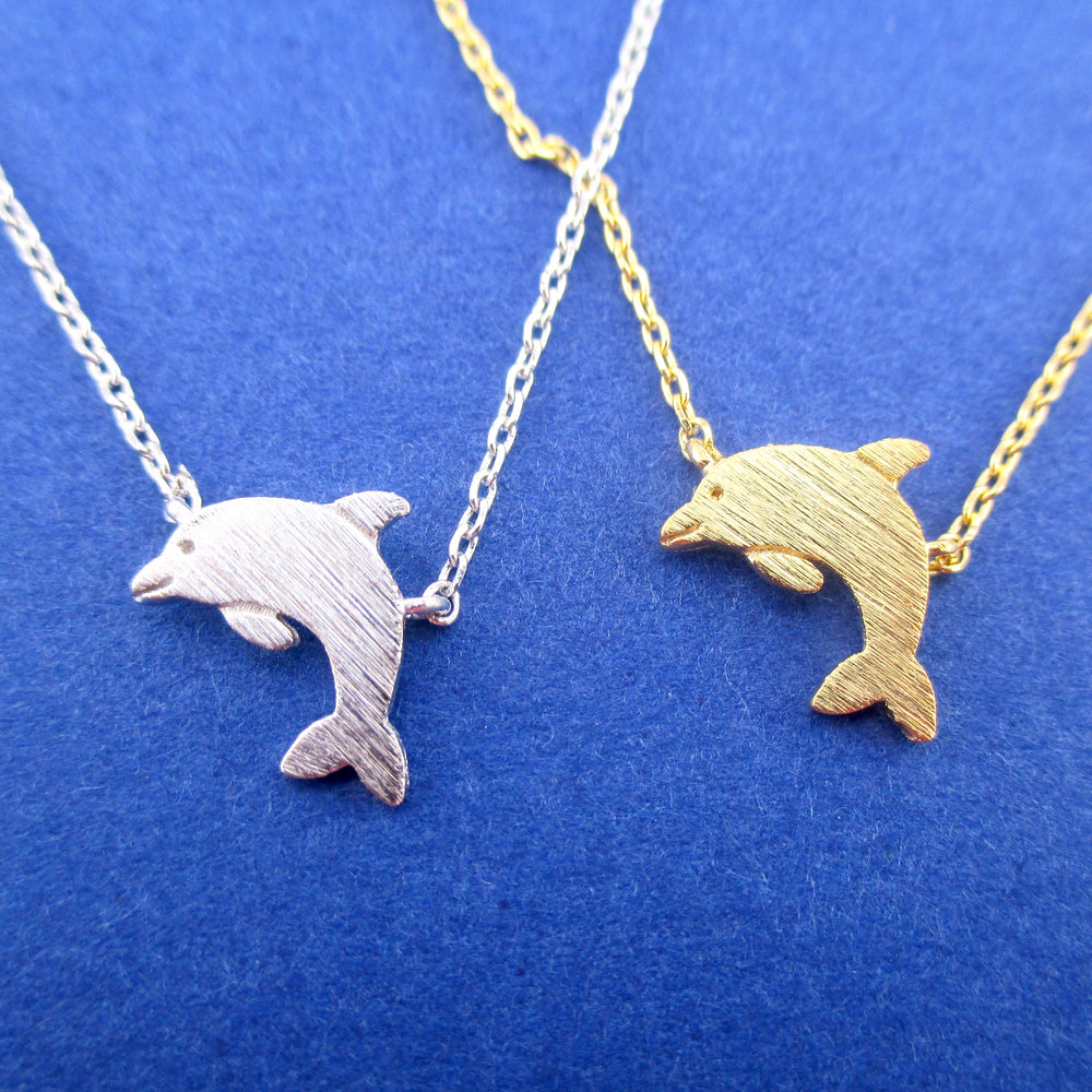 Cute Bottlenose Dolphin Shaped Pendant Necklace in Silver or Gold