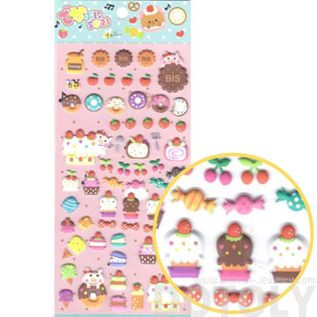 Super Cute Cupcakes Cakes Desserts and Pigs Shaped Puffy Stickers for Scrapbooking | DOTOLY