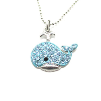 Super Cute Whale Shaped Blue Rhinestone Pendant Necklace | DOTOLY | DOTOLY