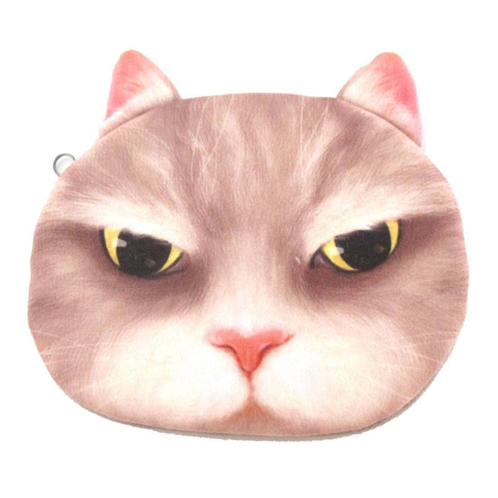 Super Grumpy Kitty Cat Head Shaped Soft Fabric Zipper Coin Purse in Grey | DOTOLY