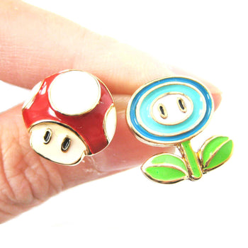 Super Mario Themed Mushroom and Ice Flower Power Up Stud Earrings | DOTOLY