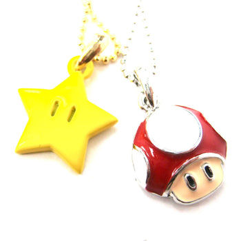 Super Mario Themed Mushroom and Super Star Power Up Pendant Necklace | DOTOLY