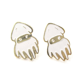 Super Mario Themed Squid Blooper Shaped Stud Earrings in Gold | Limited Edition Jewelry | DOTOLY