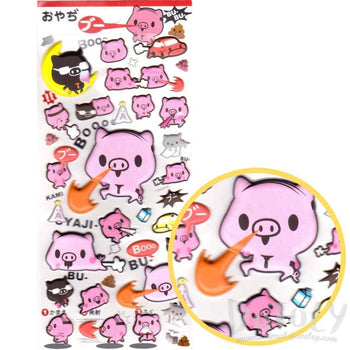 Super Pig Cartoon Piglets Animal Shaped Stickers for Scrapbooking | DOTOLY
