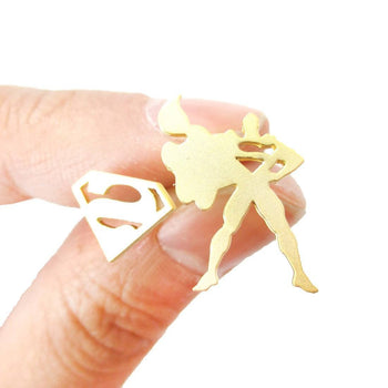 Superman Silhouette and Logo Symbol Shaped Stud Earrings in Gold | Allergy Free | DOTOLY