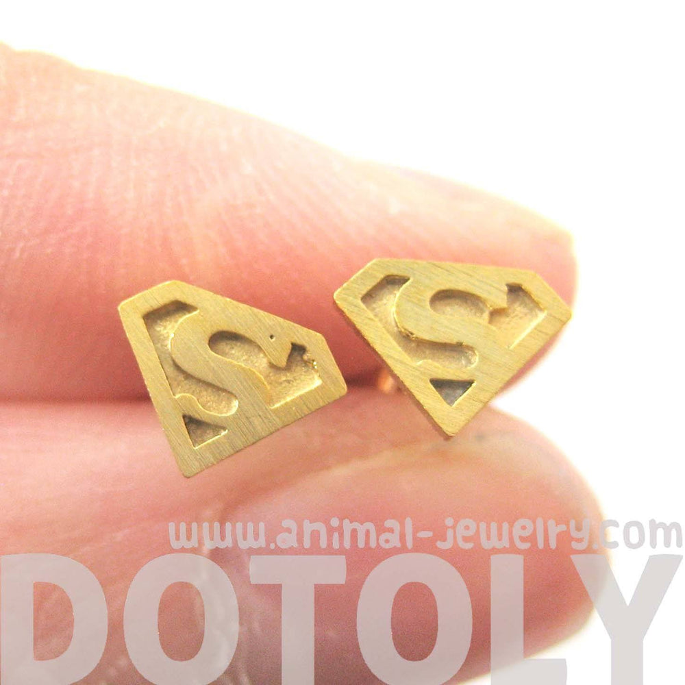 Superman Symbol Super Hero Logo Stud Earrings in Gold | Allergy Free | DOTOLY