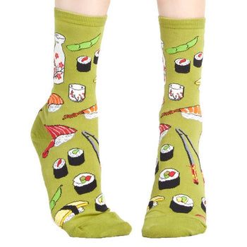 Sushi Patterned Food Themed Socks in Olive Green | DOTOLY | DOTOLY