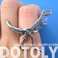 T-Rex Dinosaur Dino Fossil Skeleton Bones Adjustable Ring in Shiny Silver | DOTOLY