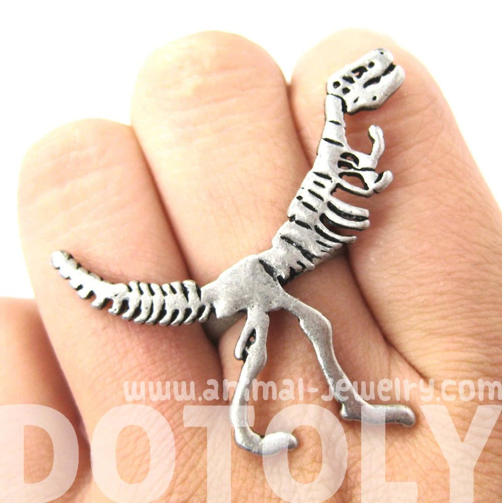 T-Rex Dinosaur Fossil Skeleton Bones Adjustable Ring in Silver | DOTOLY