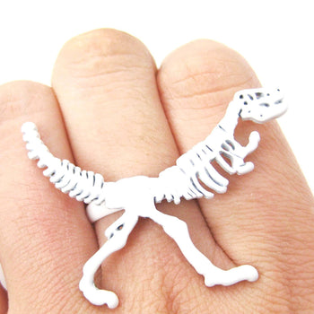 T-Rex Dinosaur Fossil Skeleton Bones Adjustable Ring in White | DOTOLY