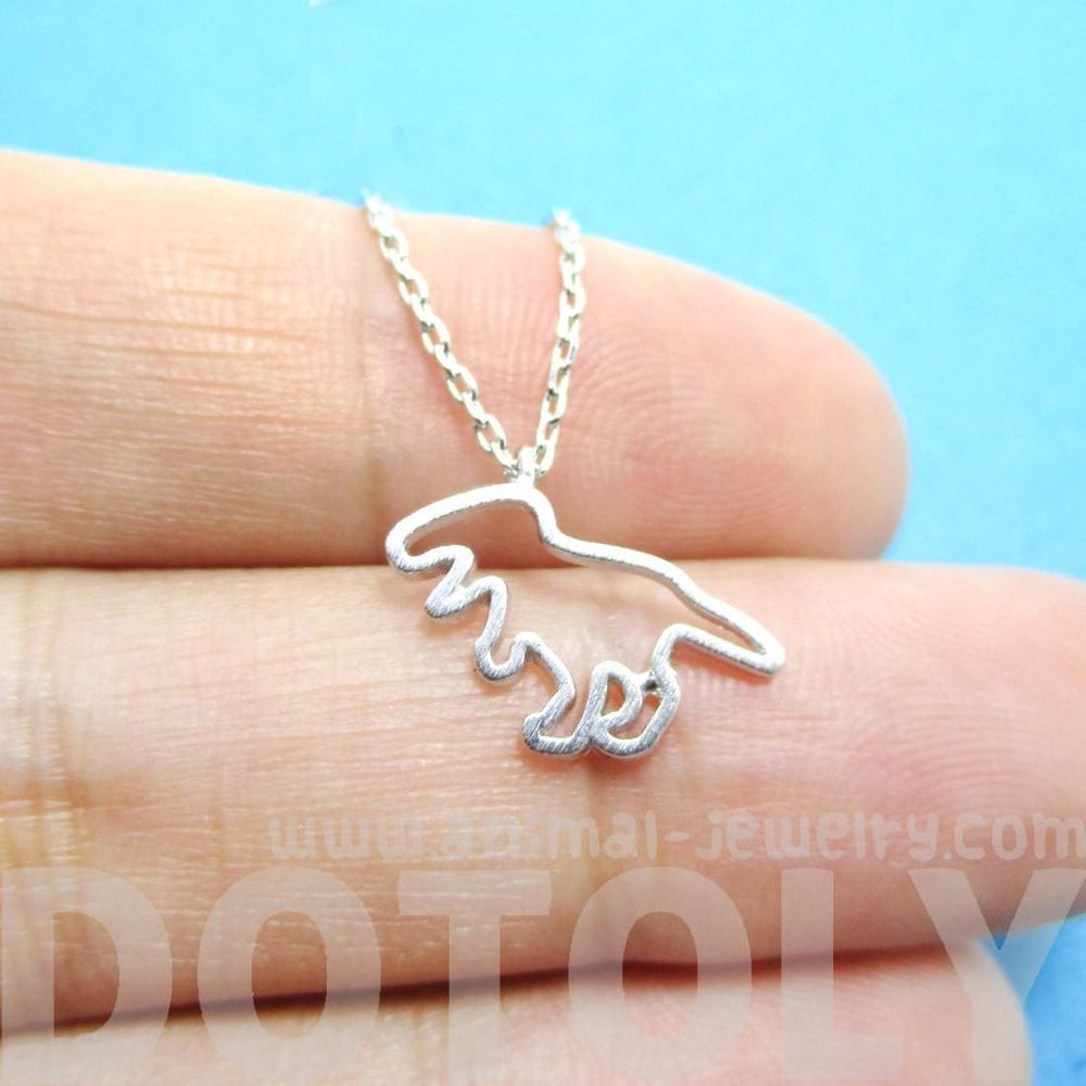 T-Rex Dinosaur Outline Shaped Animal Charm Necklace in Silver | DOTOLY