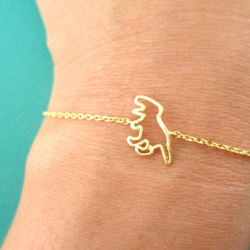 T-Rex Dinosaur Outline Shaped Charm Bracelet in Gold