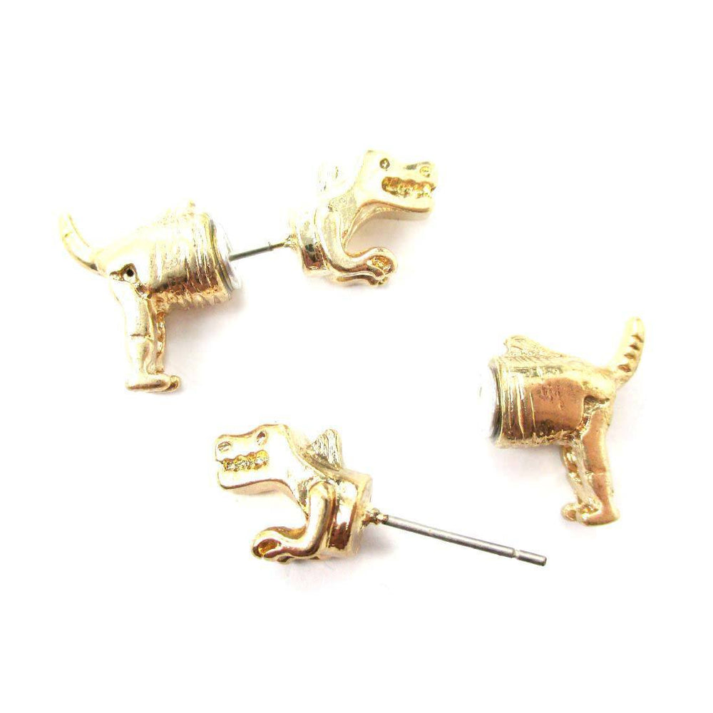 T-Rex Dinosaur Shaped Front and Back Two Part Earrings in Gold | DOTOLY