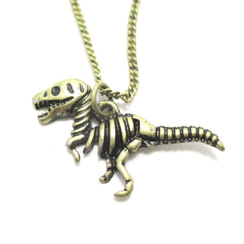 T Rex Dinosaur Skeleton Fossil Animal Bones Pendant Necklace in Brass | DOTOLY