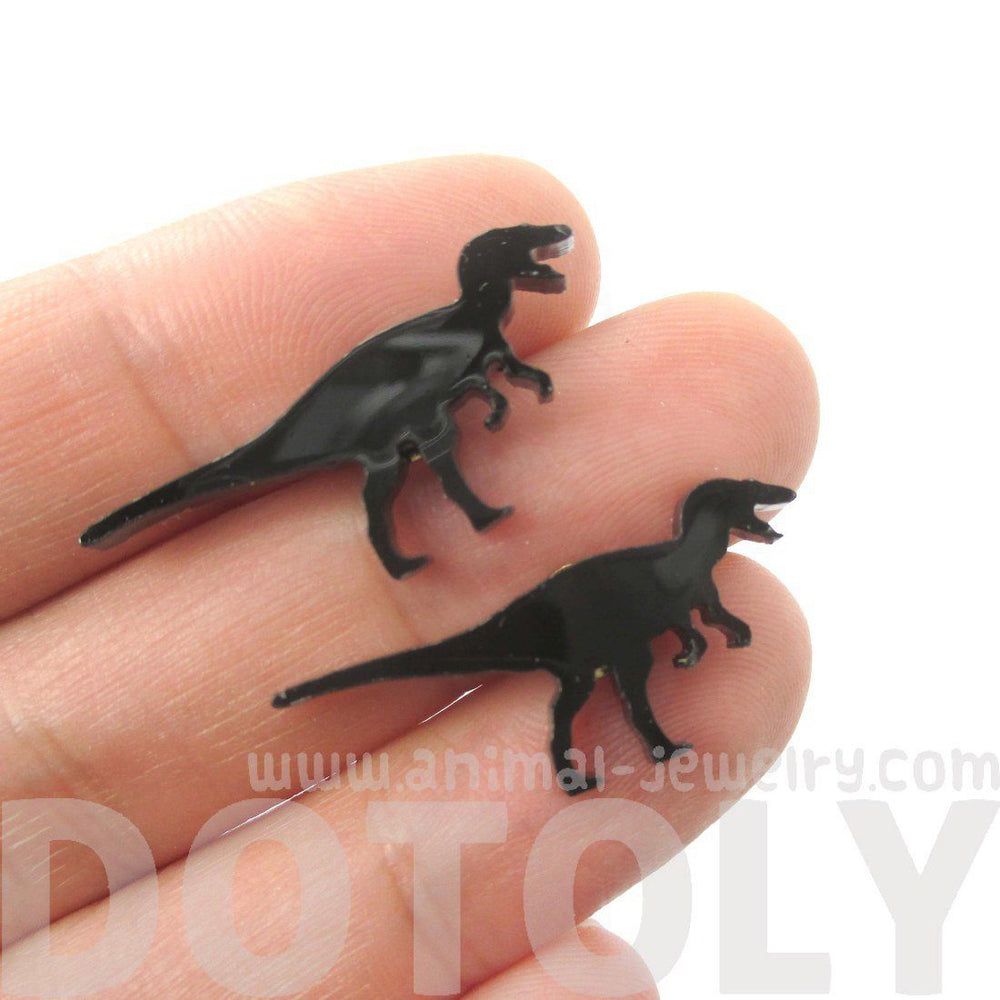 T-Rex Silhouette Dinosaur Shaped Laser Cut Stud Earrings in Black | DOTOLY
