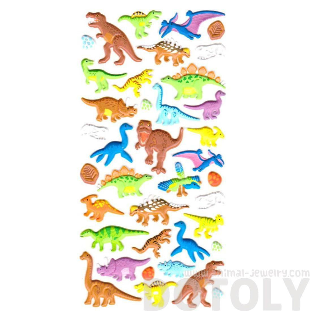 T-Rex Stegosaurus Triceratops Dinosaur Shaped Puffy Stickers for Scrapbooking | DOTOLY