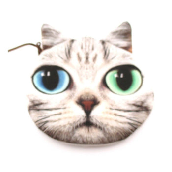 Tabby Cat Face With Blue and Green Eyes Shaped Coin Purse Make Up Bag | DOTOLY
