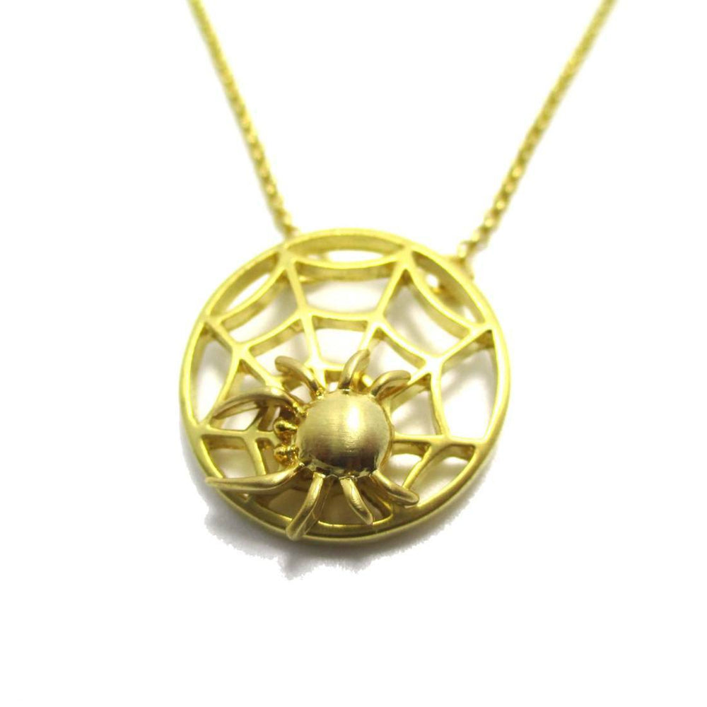 Tarantula Spider Web Shaped Pendant Necklace in Gold | DOTOLY | DOTOLY