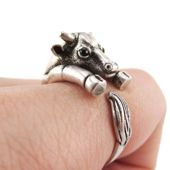 Taurus Bull Cow Shaped Animal Hugging Your Finger Ring in Silver | US Size 5 to 8 | DOTOLY