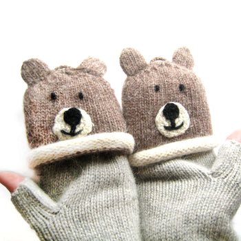 Teddy Bear Animal Themed Wool Knit Fingerless Popover Mitten Gloves for Women | DOTOLY