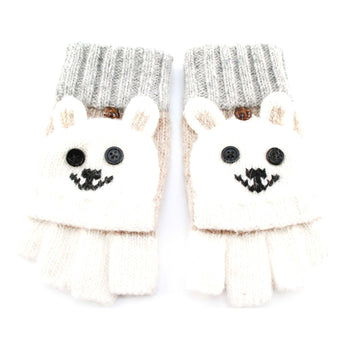 Teddy Bear Animal Themed Wool Knit Fingerless Popover Mitten Gloves in White | DOTOLY