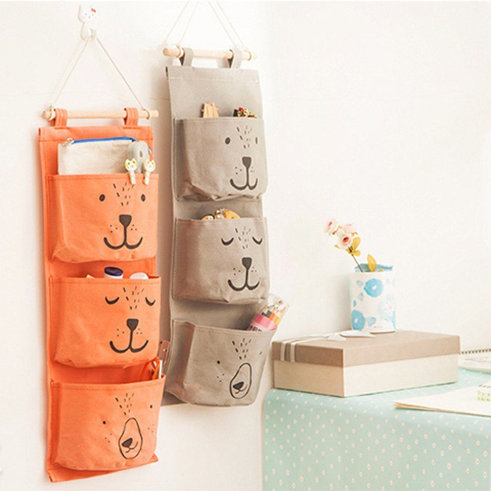 Wall Hanging Storage teddy bear wall hanging storage bag pocket organizer rack | dotoly