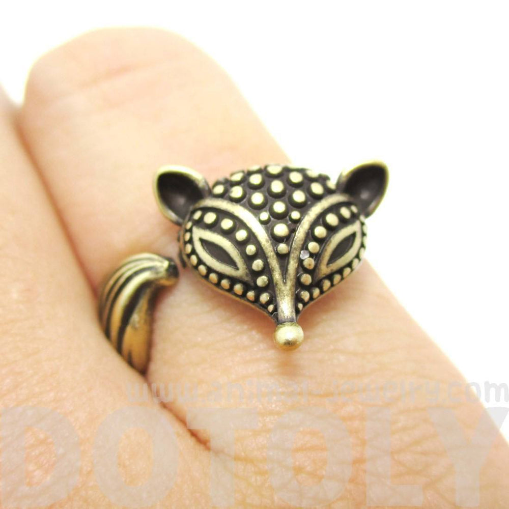 Textured Baby Fox Shaped Animal Ring in Brass | US Size 6 to 8 | DOTOLY