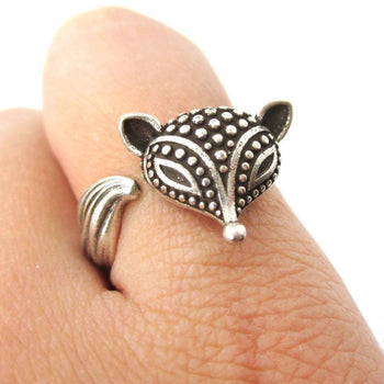 Textured Baby Fox Shaped Animal Ring in Silver | US Size 6 to 8 | DOTOLY