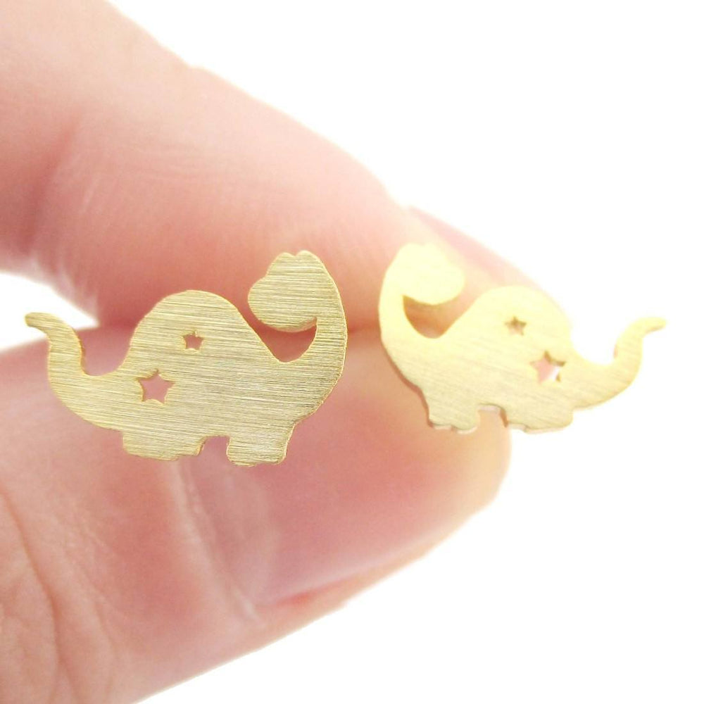 The Good Dinosaur Apatosaurus with Star Cut Outs Shaped Stud Earrings in Gold | Allergy Free | DOTOLY