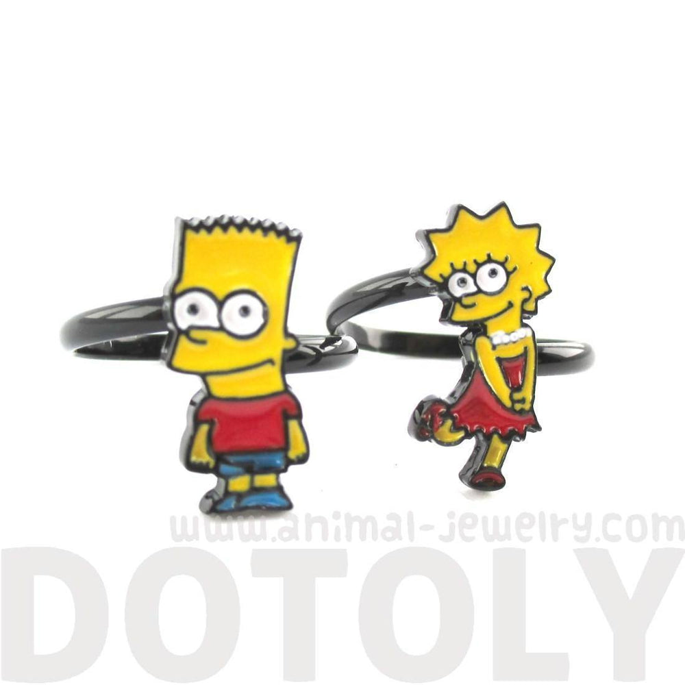 The Simpsons Themed Bart and Lisa Adjustable Ring | DOTOLY | DOTOLY