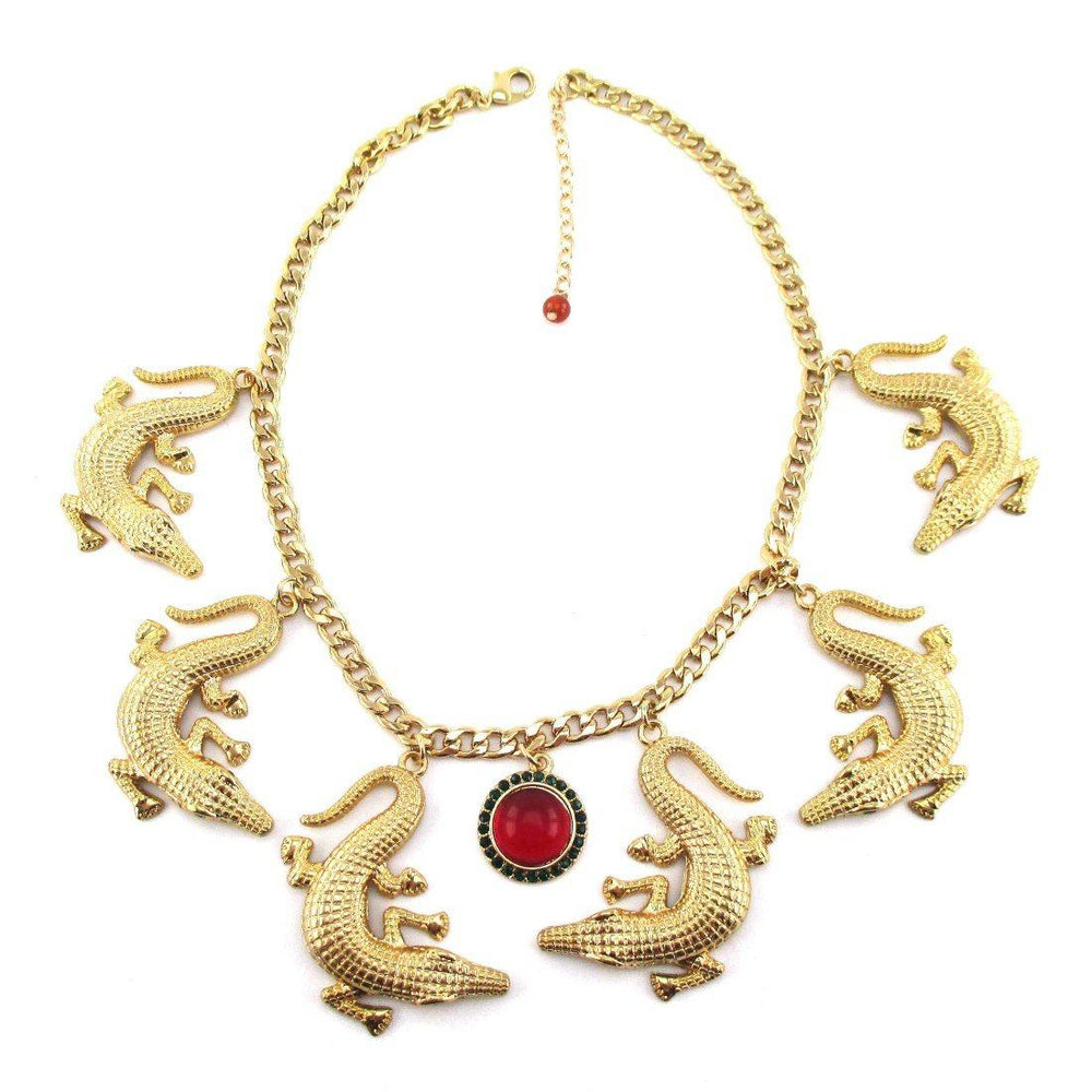 The Ultimate Crocodile Alligator Statement Pendant Necklace in Gold