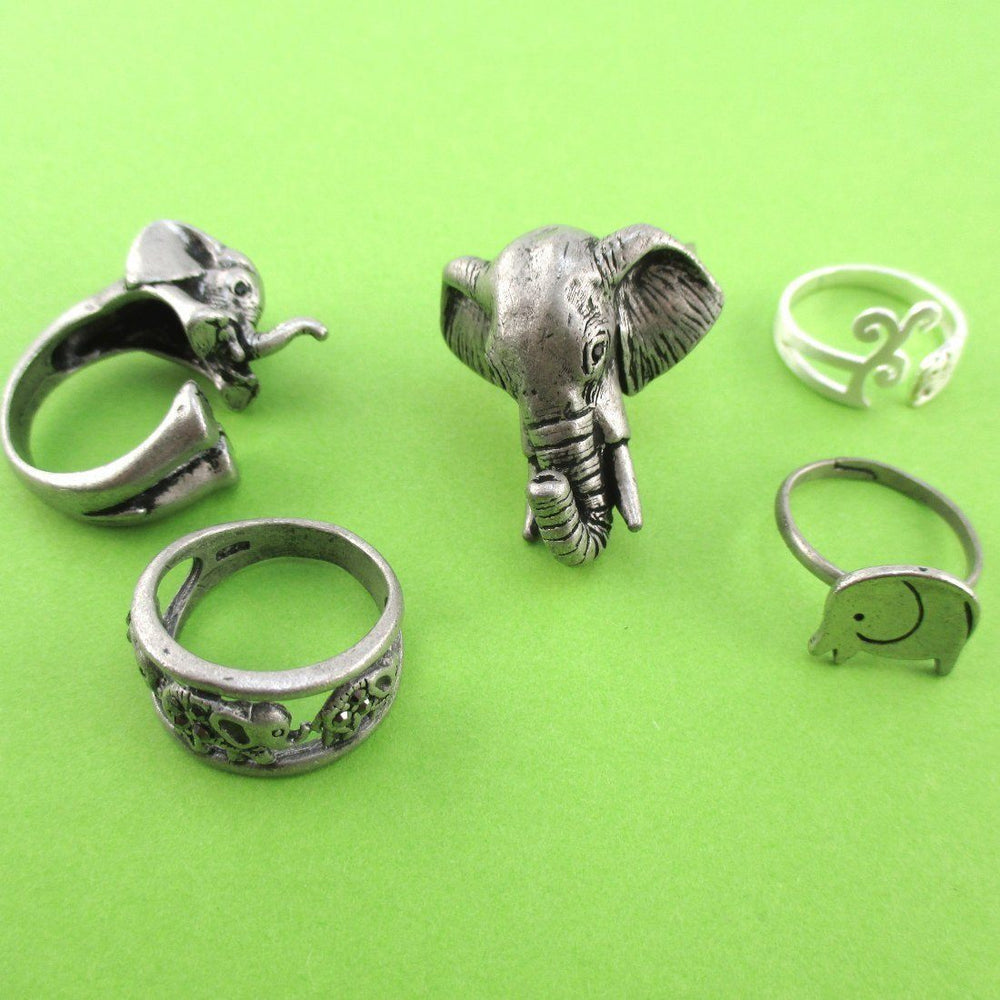 The Ultimate Elephant Enthusiast 5 Piece Animal Ring Set in Silver